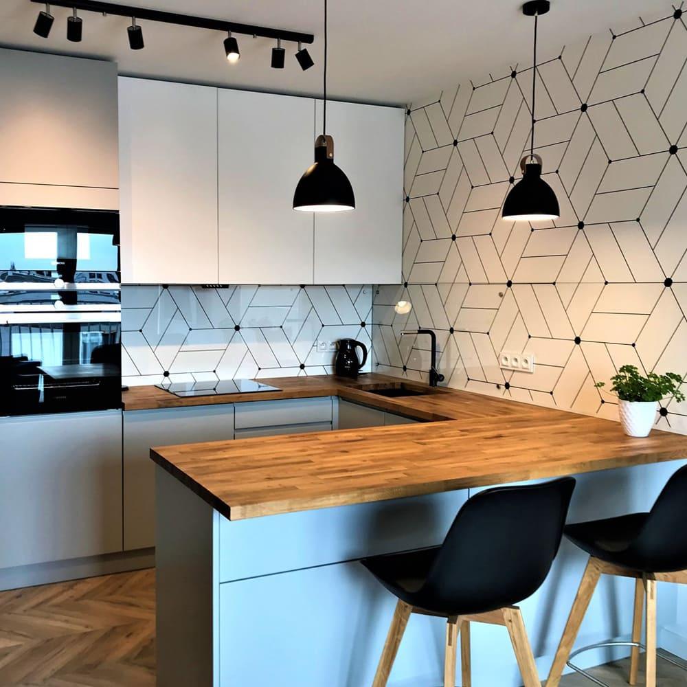 современная кухня с дубовой столешницей