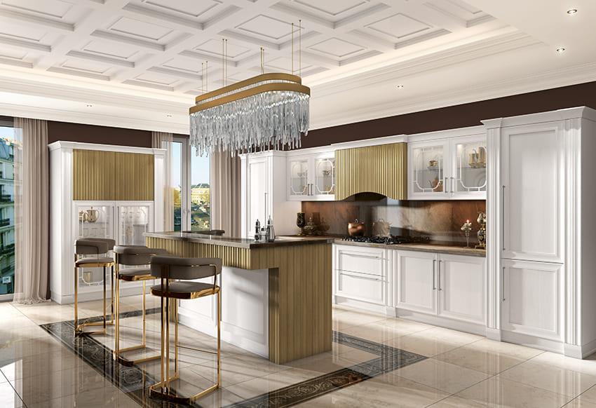 кухня с белыми итальянскими фасадами