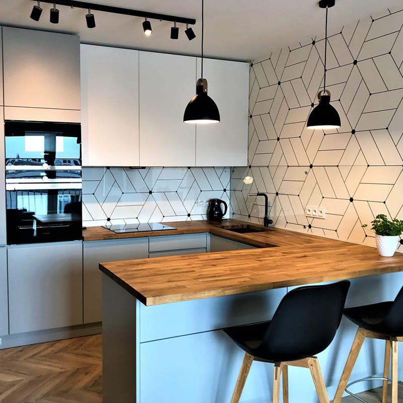 серо-белая современная кухня